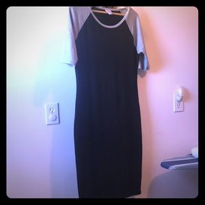 LuLaRoe Julia dress black w/ gray sleeves l